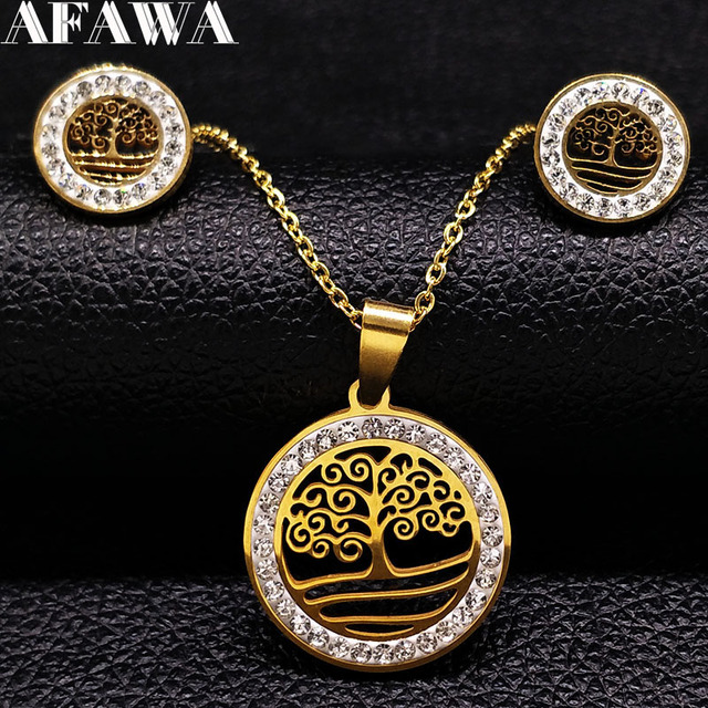 129d535abd14 2018 Árbol de la vida de acero inoxidable collar pendientes cristal joyería  Set mujeres oro Color