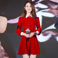 Star of American and European big autumn and winter new style zhao liying star to bring a dress with red long sleeved red velvet