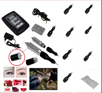 Complete Tattoo Dragon Rotary Machine Kit Professional Permanent Makeup Gun Needles Foot Switch Set for Eyebrow Eyeliner Lip
