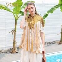 VOA шелковая блузка Для женщин милые Рококо Лолита женские топы перламутровыми пуговицами Bling льняная рубашка свободные Светло желтый Повсе