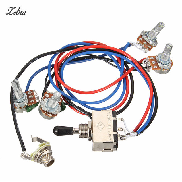 zebra wiring harness 2v 2t 3 way toggle switch 500k pots for guitar Trailor Wiring Harness Replacement at Dual Wiring Harness Replacement
