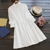 Mferlier Mori Girl Autumn Winter White Dress Ruffled Stand Collar Long Sleeve Pleated Waist Vestido Feminino
