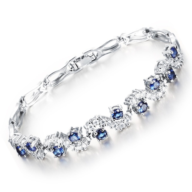 Us 8 2 Fate Love 2017 New Brand Unique S Design Gold White Bracelet With Clear Blue White Cz 18 5cm Bracelet Woman Luxury Jewelry Fl459 In Charm