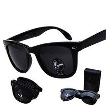 Folding Glasses With Case Men Women Brand Design Mirrored Sun Glasses Folded Oculos De Sol UV400 N F