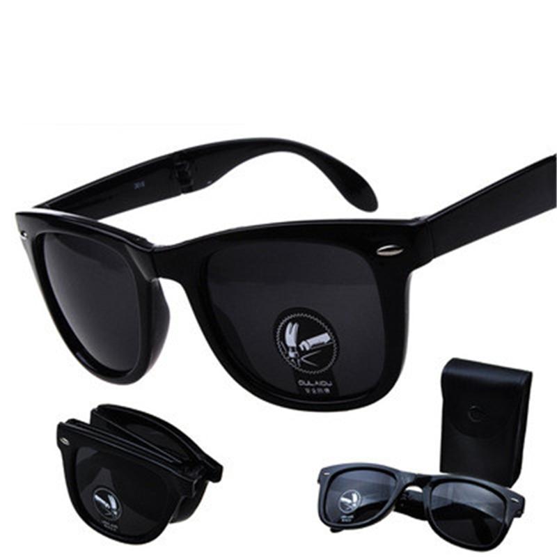 Folding Glasses With Case Men Women Brand Design Mirrored Sun Glasses Folded Oculos De Sol UV400 N Foldable Sunglasses