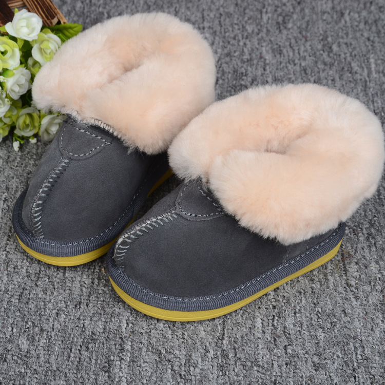 Real Goat Fur Boots Baby Girls Boys Winter Snow Boots Brand Kids Ugly Boots Shoes Children Geanuine Leather Shoes 1-4 Age 2107 hot winter girls pu leather shoes for children fashion stud boots baby boys black snow boots kids brand warm boots pink
