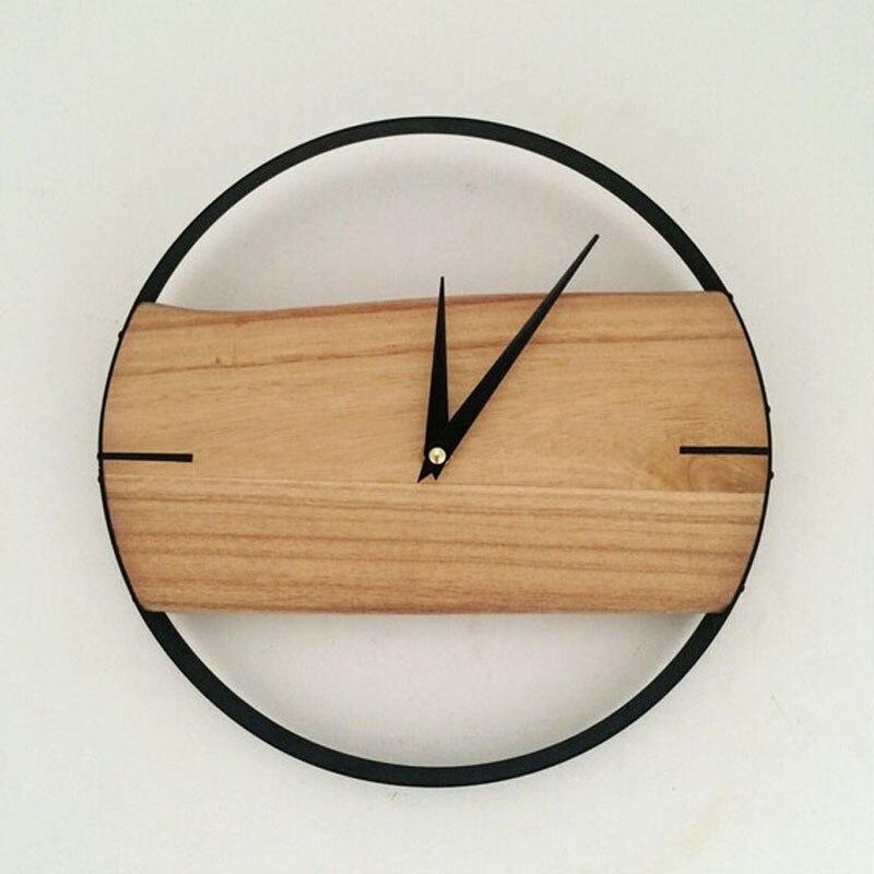 Pinjeas Natural Wall Clock Brief Style Wooden Wall Clock
