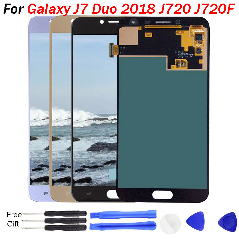 For Samsung Galaxy J7 Duo Screen <font><b>J720</b></font> <font><b>LCD</b></font> J720F SM-J720F <font><b>LCD</b></font> Display Touch Screen Digitizer Assembly Replacements <font><b>J720</b></font> <font><b>LCD</b></font> image