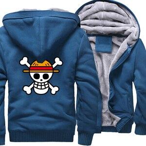 Image 4 - One piece Hoodies Männer Japanischen Anime Sweatshirts Mantel 2019 Winter Warme Fleece Dicken Zipper Harajuku Jacke Streetweart Herren Tops