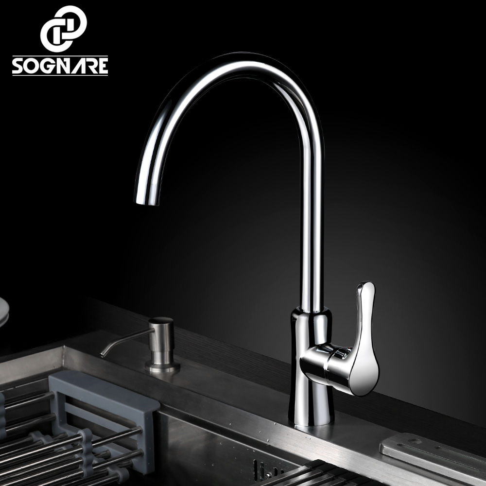 SOGNARE Kitchen Faucet Chrome Finish Water Tap Rotate Swivel Kitchen Mixer Faucet Cold and Hot Water Mixer Taps Torneira Cozinha