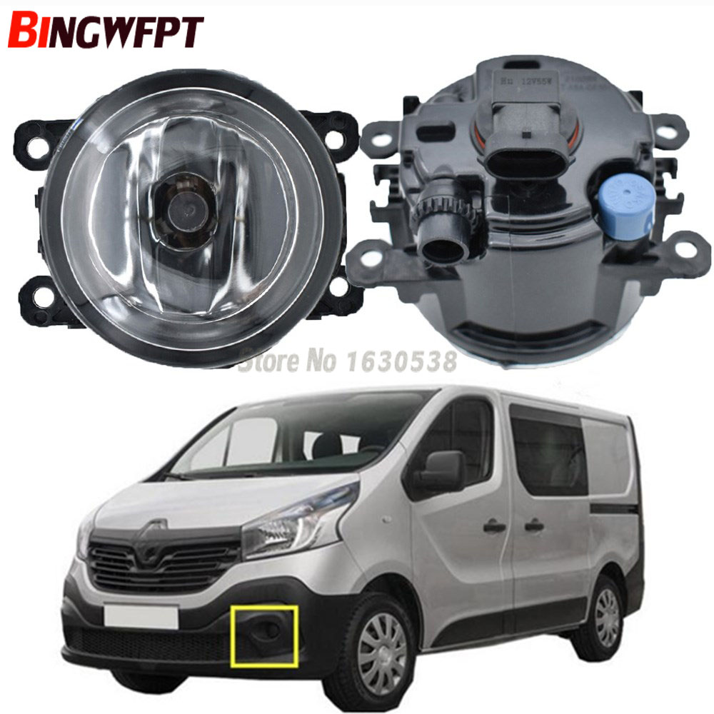 2x Fog Lamp Assembly Fog Lights Halogen Lamps For Renault Trafic 2.5L L4 Diesel Turbocharged 2003-2006