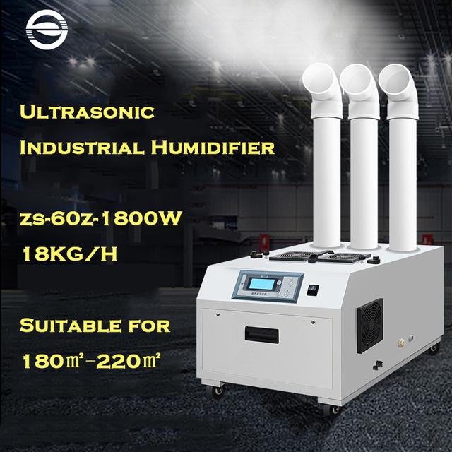 ZS-60Z 1800W Ultrasonic Air Humidifier 18KG/H Diffuser Large Fogger For Industrial Factory Workshop Greenhouse Computer Control