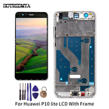 P10 Lite 5.2 Inch LCD For Huawei P10 Lite LCD Display Digitizer Sensor Glass Panel Assembly Touch Screen Frame With Tools Was-lx for elephone vowney lite touch screen sensor with lcd display panel assembly 100