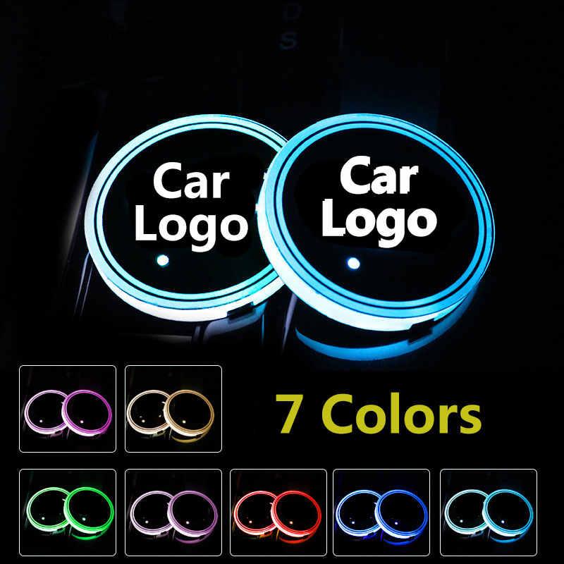 2X Logo Mobil Lampu LED Piala Drink Holder Anti Slip Mat Coaster Stiker untuk Opel Astra J G Insignia Corsa D Zafira B Aksesoris