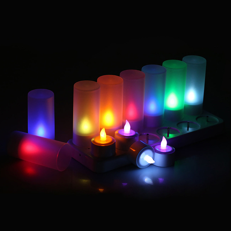 12pcs set Remote Controll Rechargeable Tea Light LED Candles frosted Flameless TeaLight multi color Changing candle