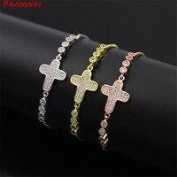 Wholesale Exquisite Arc Full Zircon Cross Telescopic Bracelet For Women Pulseira Feminina Bracelets Bangles Length Adjustable