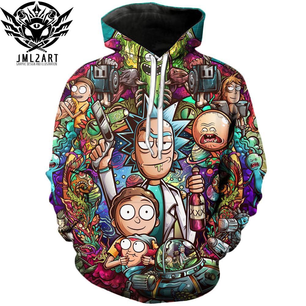 Rick e Morty Con Cappuccio Da jml2 Art 3D Unisex Felpa Da Uomo di Marca Con Cappuccio Comic Tuta Casuale Pullover DropShip Streetwear