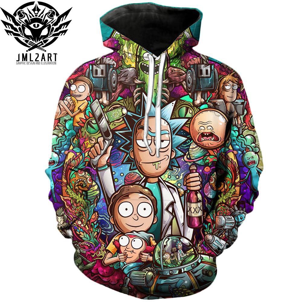 Rick e Morty Felpe Da jml2 Arte 3D Unisex Felpa Da Uomo di Marca Con Cappuccio Comic Casual Tuta Pullover DropShip Streetwear