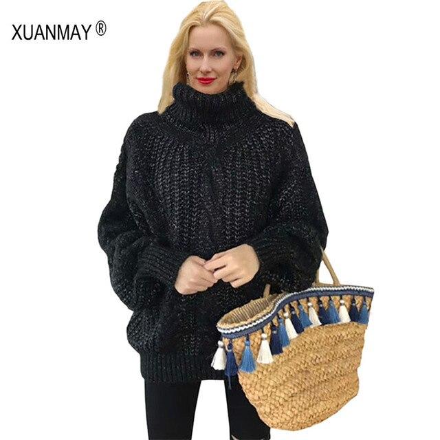 Для женщин Зимний пуловер с высоким воротником свитер грубой линии женского Новинка 2017 свободные большой ярдов толстый мохер свитер пальто женский