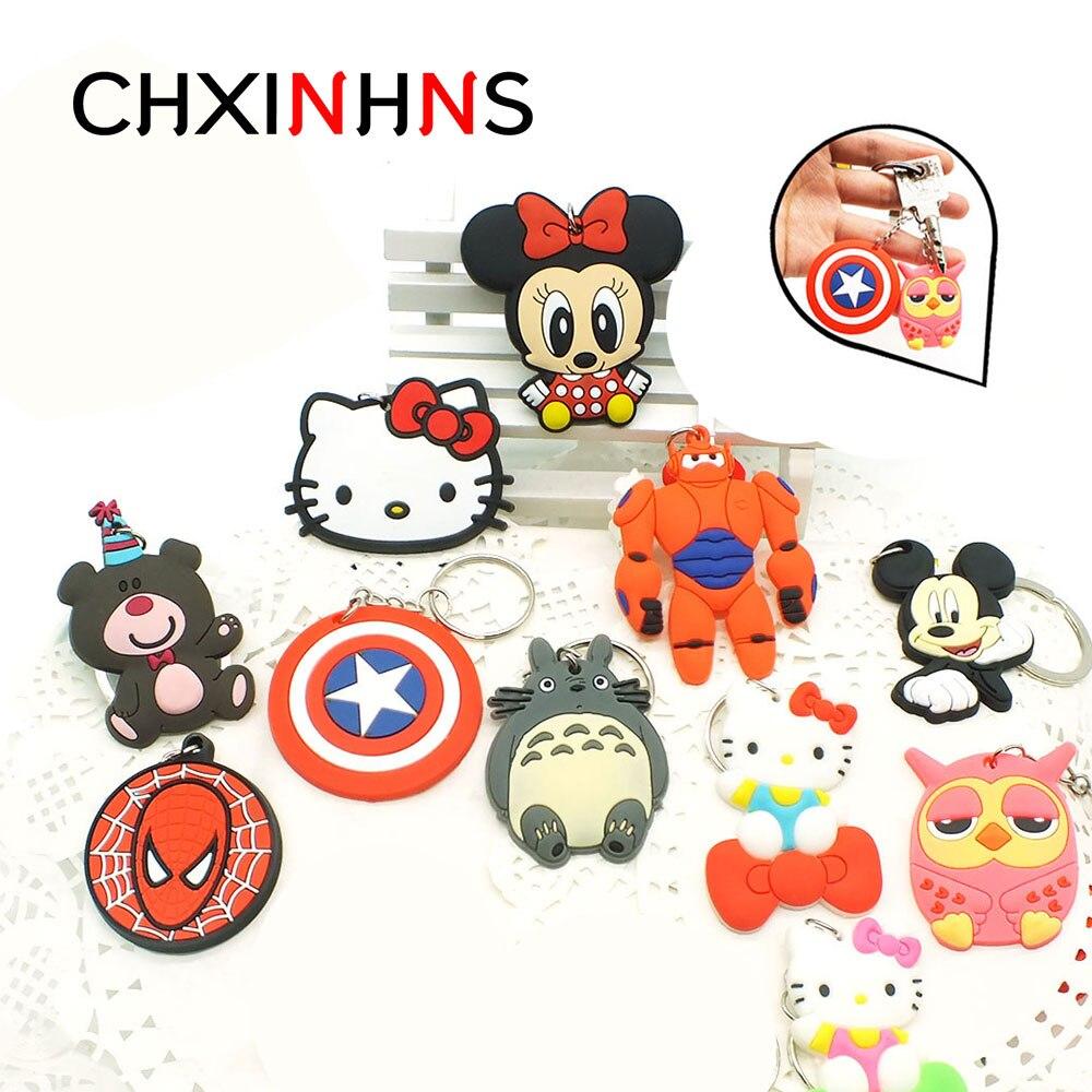 Fashion Anime Keychain Cute Bunny Captain Marvel KT Key Chain for Women Cartoon PVC Keyring Bag