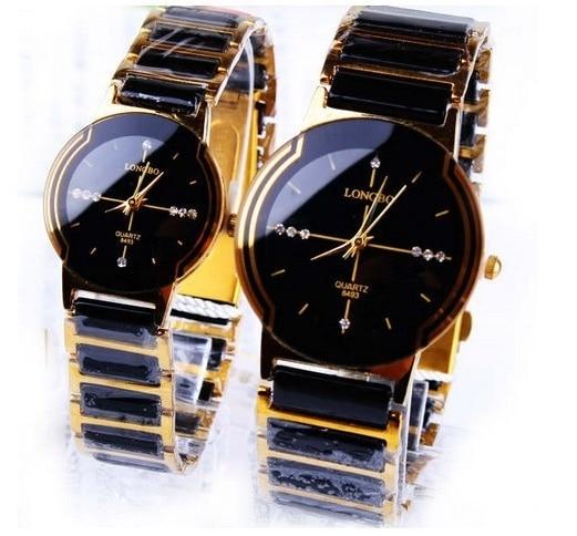 Fashion Longbo Top Brand Rhinestone Exquisite Gift Quality Gold Ceramic Woman Men Lovers' Dress Watch Commercial Quartz Clock