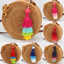 1pc Summer Jewelry Wood Bead With Rainbow Keychains Colorful Tassel Keyring Women