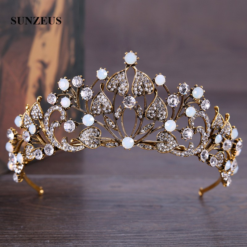 Baroque Style Vintage Wedding Crown Gold With Beaded Sparkly Hair Accessories Bridal Tiaras Headband SHA10