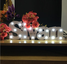 Baby name Bespoke luxury gift Light up letters bespoke light up name Birthday gift name with white LED lights Bedroom decoration(China)