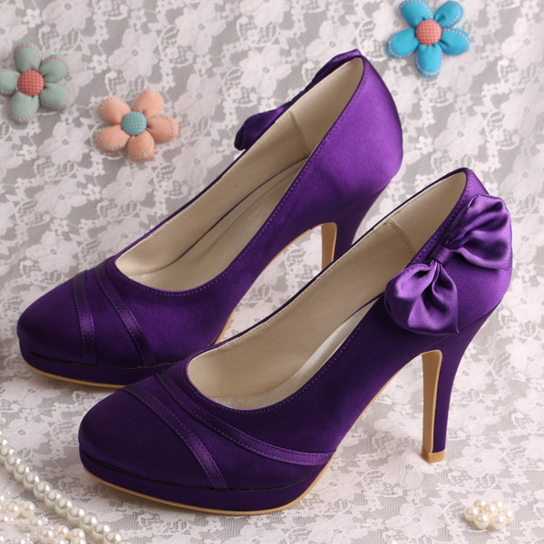 Wedopus Brand Purple High Heel Ladies Shoes Prom Satin Bridal Pumps with Bowtie custom italianshoes with matching bags beading crystals multi styles bridal pump shoes high heel ladies shoes pumps for brides