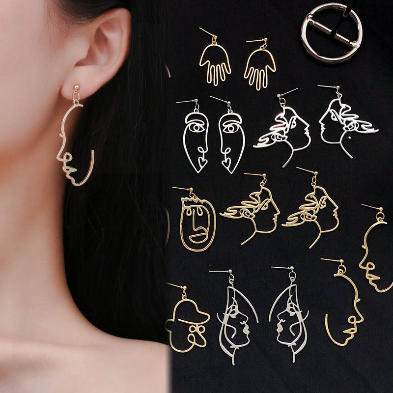 Punk Human Face Drop Earrings For Women Retro Abstract Hollow out Statement Hand Metal Fashion Dangle Earring Jewelry