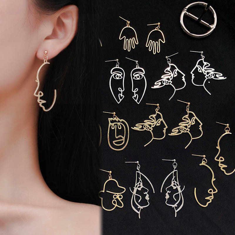 Punk ludzka twarz spadek kolczyki dla kobiet Retro streszczenie drążą oświadczenie ręcznie metalowe modne kończyki wiszące biżuteria