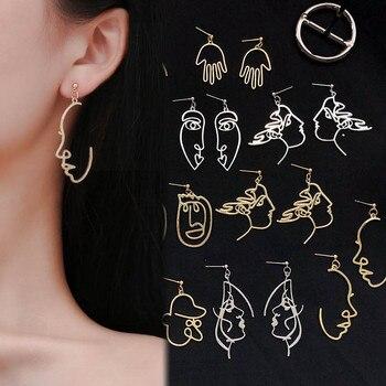 Punk visage humain boucles d'oreilles goutte pour les femmes rétro abstrait évider déclaration main métal mode balancent boucle d'oreille bijoux