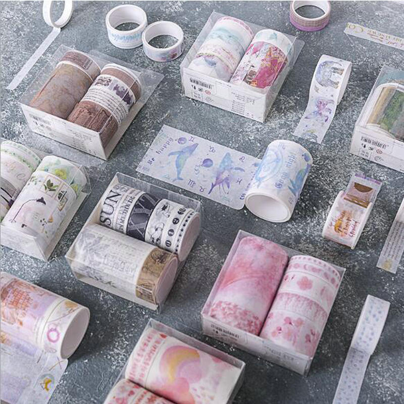 7pcs/Box Vintage DIY Scrapbooking Washi Masking Tape Adhesive Tape Decorative Paper Label Stickers For Notebook Stationery Gift