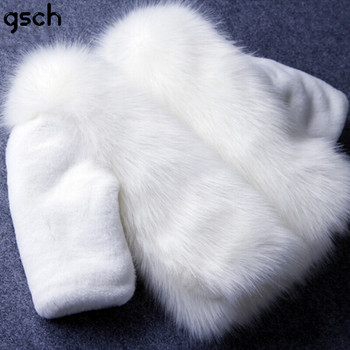 white winter fur coat for girls parka girls luxury faux fur outerwear Kids Winter Jacket Down Coat Girls Children Clothes roupas