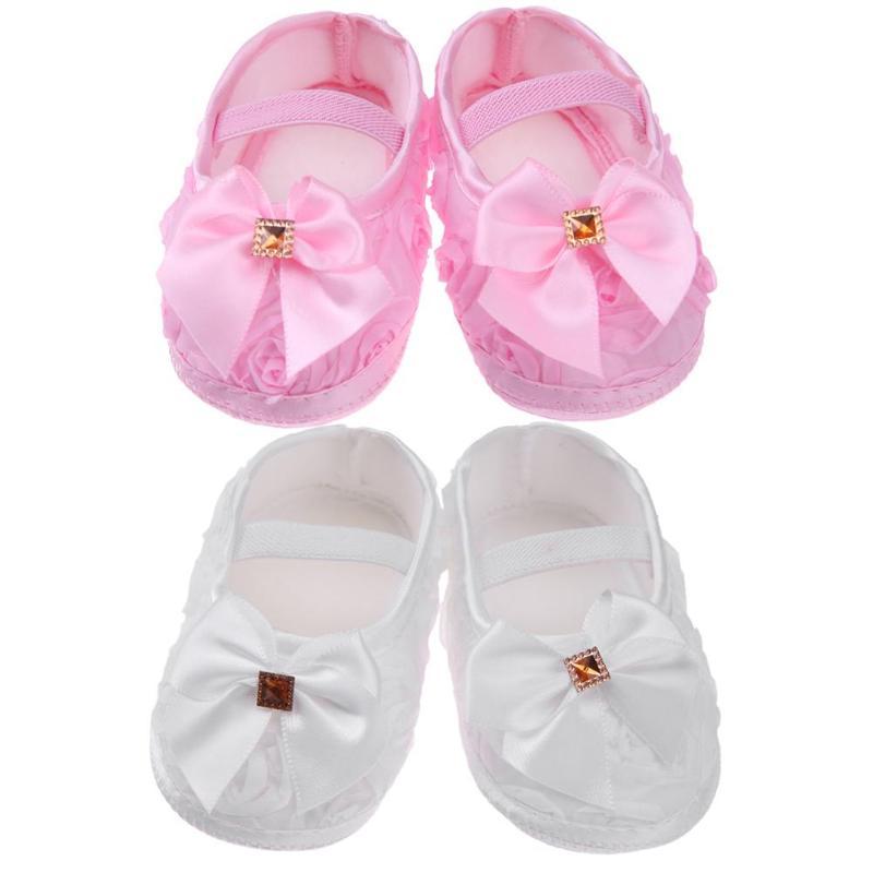 Soft Sole Baby Shoes Solid White Pink Elastic Baby Girls Anti-slip Cotton Toddler Infant Newborn Spring Prewalker