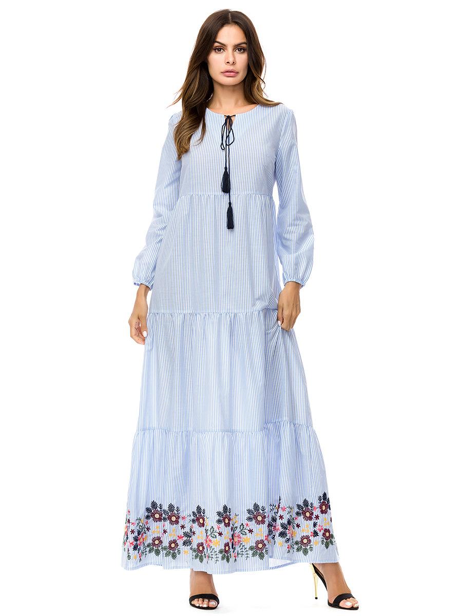ddf650e0b4a 2019 2018 Fall Middle East Muslim Women Fashion O Neck Long Sleeve ...