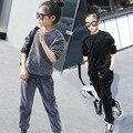 Adolescente niñas juegos de la ropa del bebé doble de lana negro gris otoño invierno niños ropa conjuntos para la muchacha sudaderas pantalones conjuntos