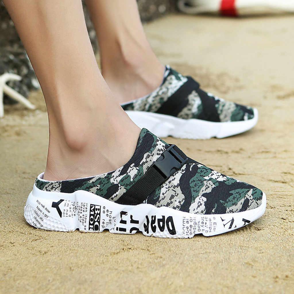 2019 ผู้ชายสบายๆตาข่าย Camouflage รองเท้าแตะน้ำหนักเบาเดินชายหาดรองเท้าพลัสขนาดกีฬารองเท้าแตะสำหรับชาย Streetwear