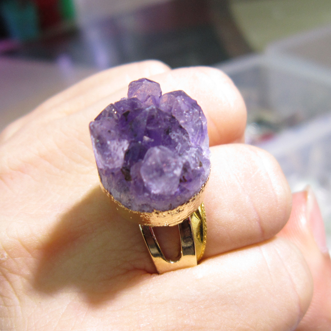Wholse Resizable Gold-plated Natural Amethyst Geode Stone Ring - ODY International Jewelry CO., LTD store