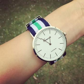 Classic brand Casual Geneva watch women Nylon strap Wrist Watch Analog Quartz Clock man Ultrathin Fashion watch relogio feminino Women Quartz Watches