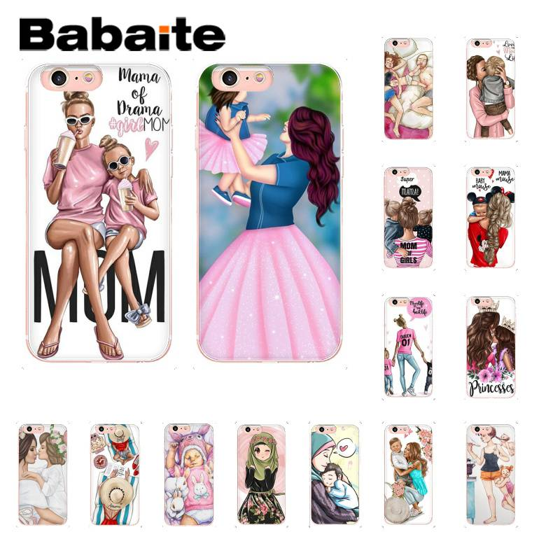 Babaite Fashion Black Baby Mom Girl TPU black Phone Case Cover Shell for iPhone X XS MAX  6 6s 7 7plus 8 8Plus 5 5S SE XR 10