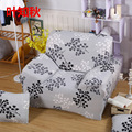 Gray Leaves Chaise Sofa Cover Big Elasticity Flexible Couch Cover Loveseat Sofa Machine Washable Slip-resistant Furniture Cover