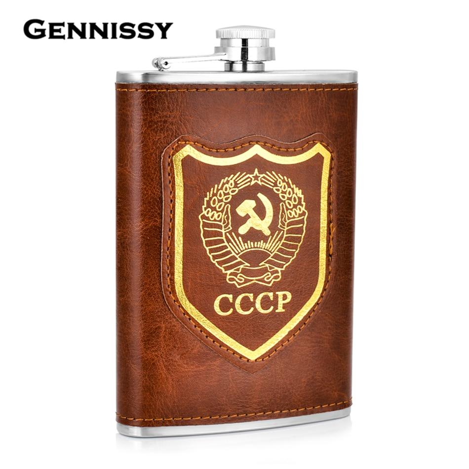 Frasco con patrón de bandera de la Unión Soviética GENNISSY nuevo cuero marrón deporte al aire libre portátil de acero inoxidable bebidas Alcohol frascos para hombre