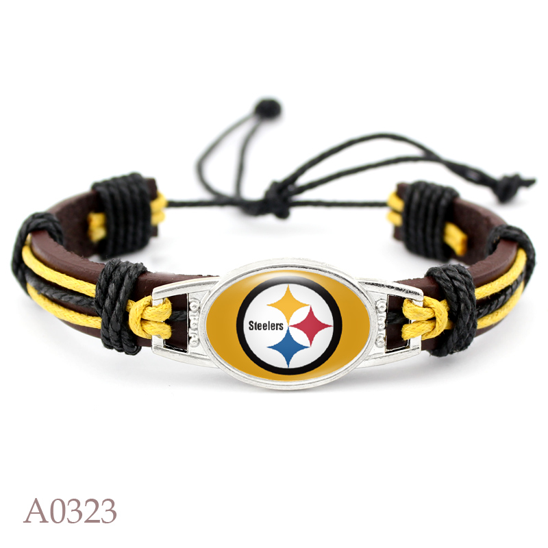 Newly Pittsburgh Steelers Football Team Real Leather Bracelet Adjustable Mens Real Leather Bracelet For Men and Women 10 PCS