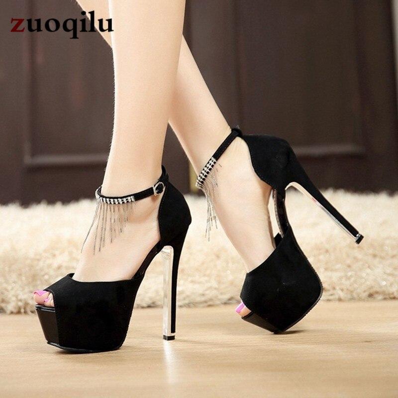 Women Pumps Sexy Platform Women Heels Shoes Buckle Thin Heels Female Shoes Party Hollow Rhinestone Black White Ladies Shoes basic pump