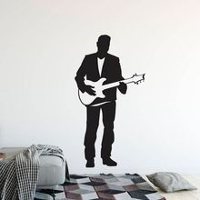 Electric Guitar Wall Sticker Singer Man with Guitar Vinyl Wall Decal Home Music Club Decoration Guitar Singer Wall Poster AY1638