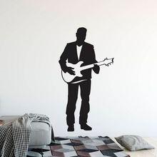 Electric Guitar Wall Sticker Singer Man with Guitar Vinyl Wall Decal Home Music Club Decoration Guitar Singer Wall Poster AY1638 чет эткинс chet atkins guitar man