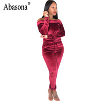 77f239b2178e Abasona Off Shoulder Jumpsuit Women Long Sleeve Hollow Out Bodycon Rompers  Womens Jumpsuit Autumn Solid Casual
