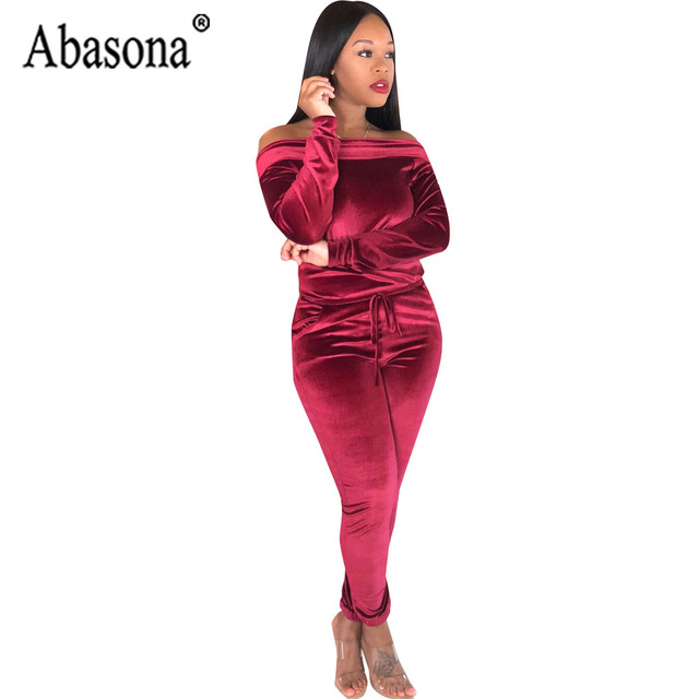 911b37018f Abasona Off Shoulder Jumpsuit Women Long Sleeve Hollow Out Bodycon Rompers  Womens Jumpsuit Autumn Solid Casual Women Romper