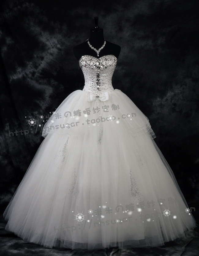 CX167 Strapless Shining Rhinestone Sweetheart Big Bowknot Back Very Puffy Wedding Dress Ball Gown In Dresses From Weddings Events On